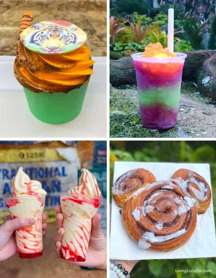 Best Disney Animal Kingdom Snacks - Dole whip Mickey Pretzel Lion King Simba Cupcake